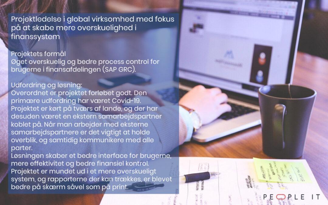 Projektledelse i global virksomhed med fokus på at skabe mere overskuelighed i finanssystem